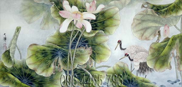 tranh hoa sen mã02