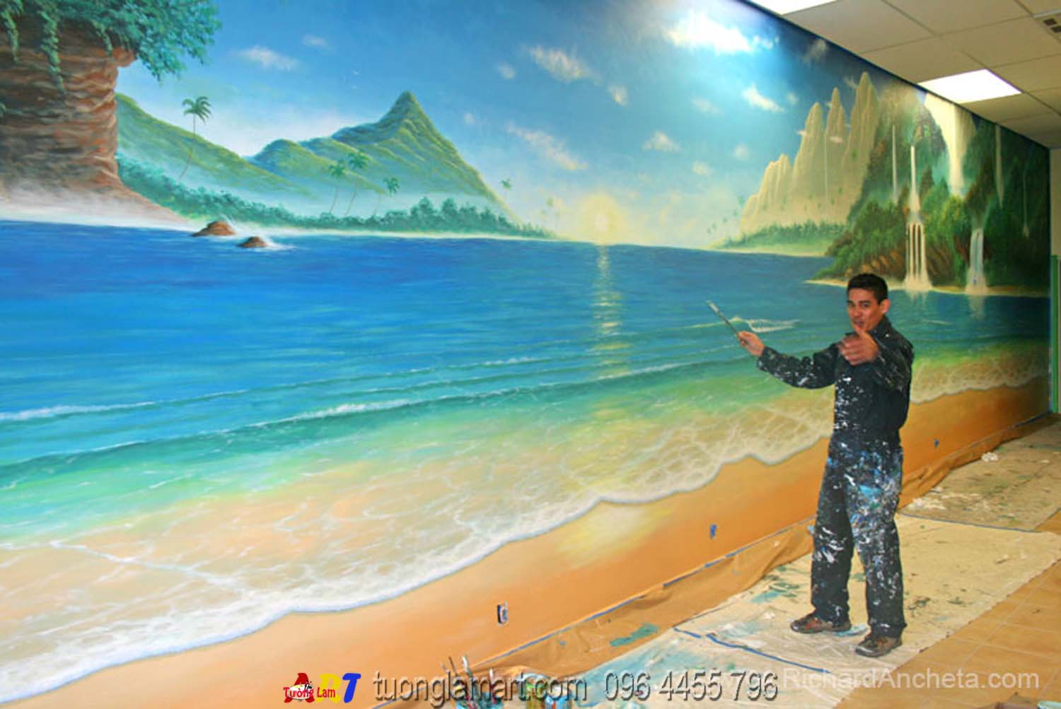 Nh ng m u v tranh t ng phong c nh bi n p nh th t for Airbrush mural painting