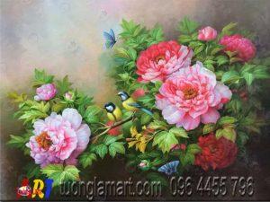 tranh hoa mẫu đơn tím hồng