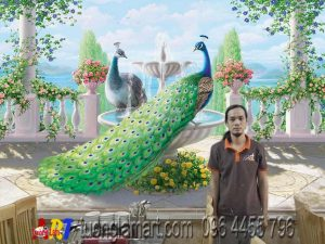 vẽ tranh tường 3d chim công