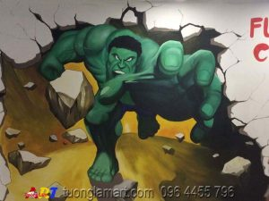vẽ tranh tường gá khổng lồ xanh