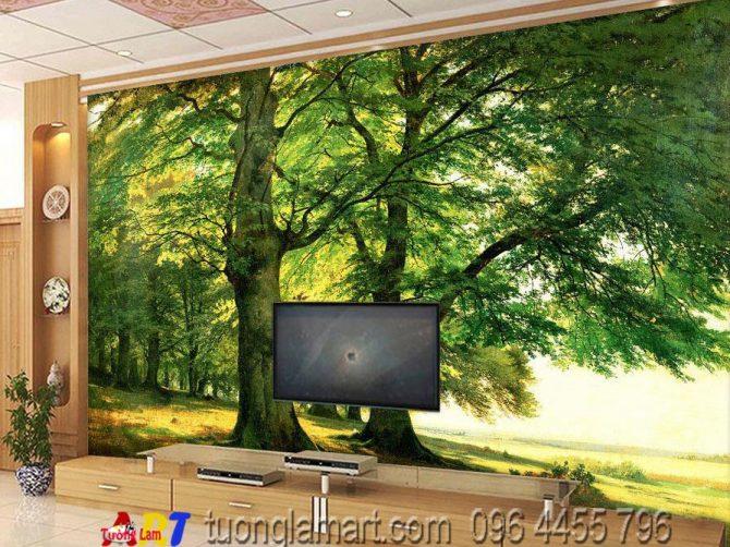 vẽ tranh tường phòng khách phong cảnh mã pc01