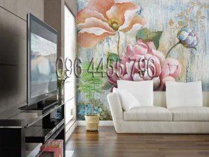 vẽ tranh tường phòng khách pk 13