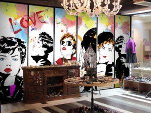 vẽ tranh tường salon tóc mã sl05