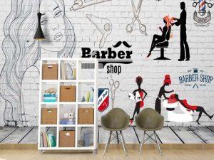 vẽ tranh tường salon tóc mã sl06