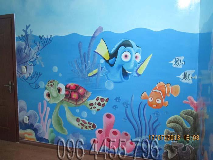 vẽ tranh tường mầm non MÃ13