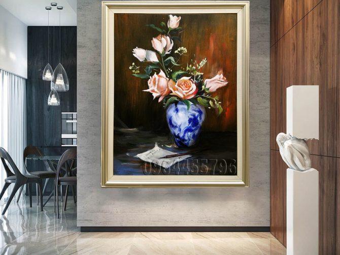 tranh hoa hồng sơn dầu